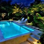 Nếu yêu thích phong cách này, hãy bố trí khu vực xung quanh bể bơi các loại cây thân cao, tán rộng như trúc, cau, tre hay những loại cây bụi như dương xỉ cùng thảm cỏ xanh mượt